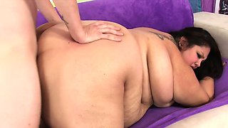 Fatty slut ribs her hand on a guys crotch He takes off his
