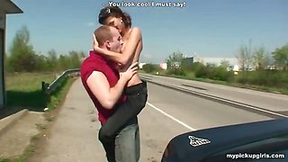Skinny chick picked up and fucked at a bus stop