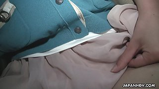 Asian girl Tomomi Matsuda is walking around the city with vibrating egg in her panties