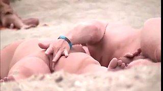 Kinky Germans having group sex on the beach