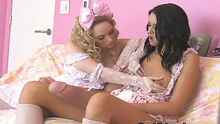Two horny girls stroking their own huge part1