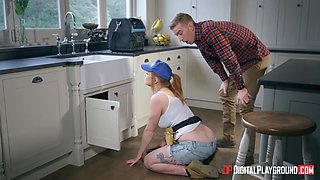 The hottest plumber girl Carly Rae swallows a big cock and gets laid