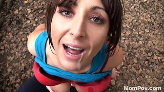 Horny milf brunette is mouth fucked rough in the forest