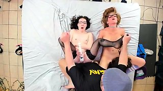 Three naughty young babes invite a guy for a wild sex party