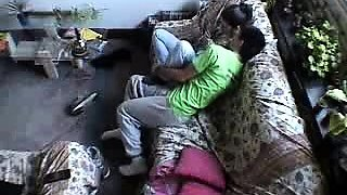 Petite young amateur has fun with her boyfriend on the sofa