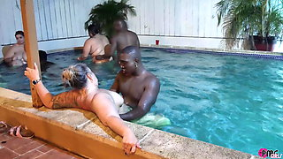 POOLSIDE ORGY FEATURING SWINGERS AND PORNSTARS