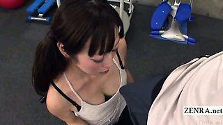 Subtitled Japanese gym demonstration with bold erection