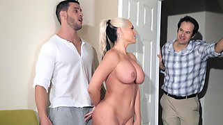 Busty MILF notices stepson's boner and wants to taste it