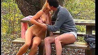 Natural German retro teen strips naked outdoor