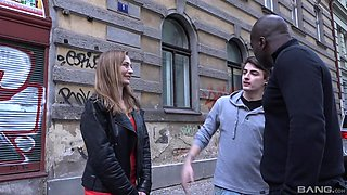 Interracial group sex is the favorite sex game for Luca Bella
