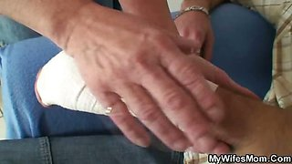 Son in law crams granny pussy