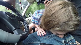 Cowgirl Sucks A Dick In The Car