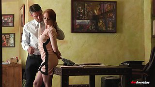 Excellent redhead rides the big stick with both her wet holes
