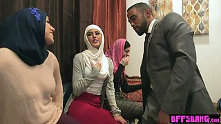 Muslim teen bride and her arab BFFs fuck a BBC stripper