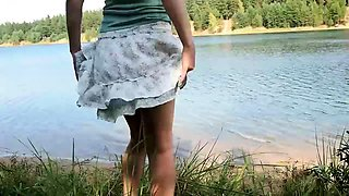 Naughty amateur wife flashes her hairy cunt in the outdoors