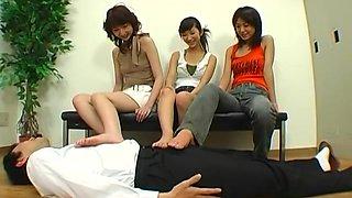 Hot Japanese schoolgirls in femdom action