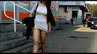 Street voyeur shoots attractive girls with sexy legs upskirt