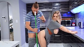 Chubby pornstar Codi Vore fucked in the kitchen and gets cum in mouth