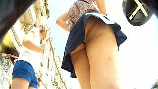 Real schoolgirl chick upskirt voyeur video