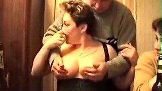 Drunk Russian woman showing tits