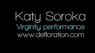 Defloration - Katy shows virgin pussy